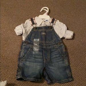 Oshkosh overall shorts with button up onesie set.